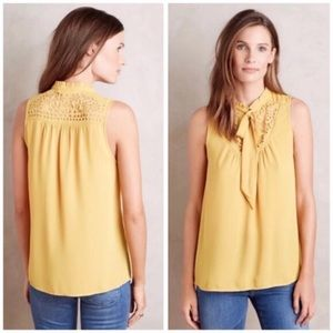 Anthro Maeve Lucca Neck Tie Cutout Blouse